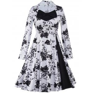 Long Sleeve Monochrome Tea Length Vintage Dress