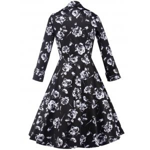 Rose Monochrome Long Sleeve Tea Length Dress - BLACK 2XL