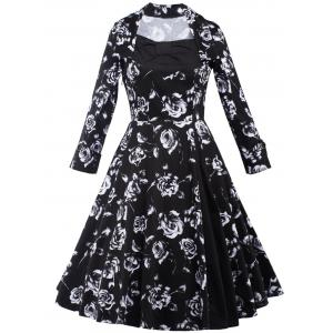Rose Monochrome Long Sleeve Tea Length Dress