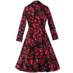 Vintage Floral Long Sleeve Midi A Line Dress - RED/BLACK 2XL