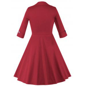 Color Block Vintage Swing Dress - RED 4XL