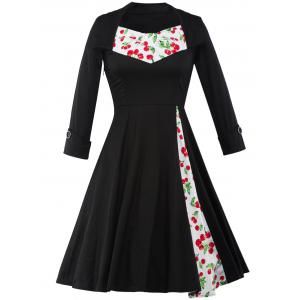 Cherry Print Tea Length Vintage Swing Dress
