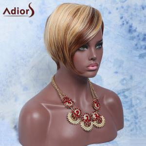 Adiors Hair Double Color Short Oblique Bang Straight Synthetic Wig -