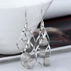 Hollow Out Leaf Circle Earrings - SILVER