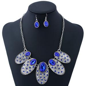 Artificial Gem Oval Necklace and Earrings - Blue