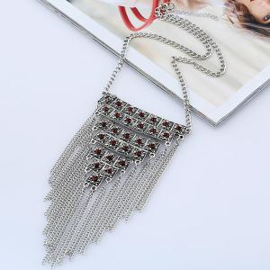 Vintage Rhinestone Geometric Fringed Necklace