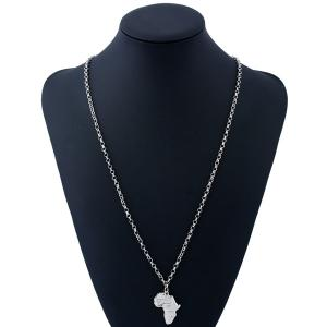 Africa Map Pendant Sweater Chain - SILVER