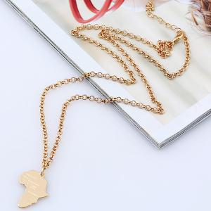 Africa Map Pendant Sweater Chain - Golden