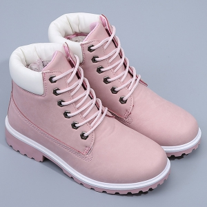 Eyelet Color Splice Lace Up Short Boots - PINK 39