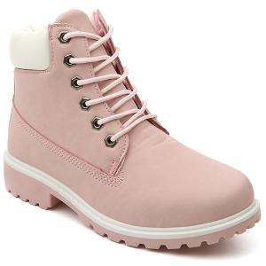 Eyelet Color Splice Lace Up Short Boots - Pink - 40