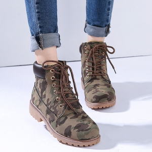 Eyelets Lace Up Camouflage Printed Boots - CAMOUFLAGE COLOR 44