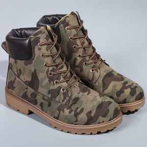 Eyelets Lace Up Camouflage Printed Boots - CAMOUFLAGE COLOR 40