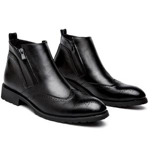 Vintage PU Leather Engraving Short Boots -