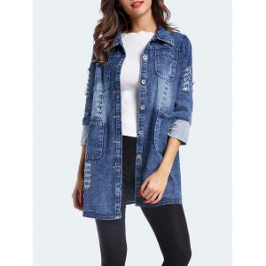 Frayed Ripped Long Denim Coat
