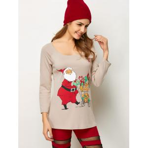 Santa Pattern Christmas Raglan Sleeve Tee - LIGHT KHAKI XL