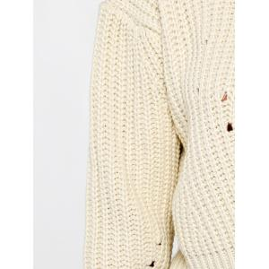 Mock Neck High Low Chunky Sweater -