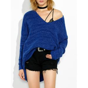High Low V Neck Oversized Sweater