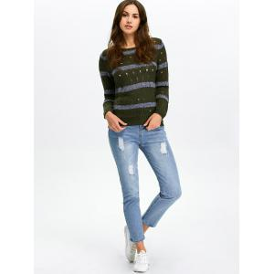Stripe Hollow Out Crew Neck Sweater -