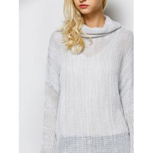 Cowl Neck Thumb Hole Long Sweater -