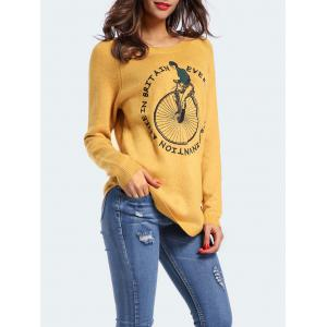 Graphic Embroidered Sweater With Curved Hem -