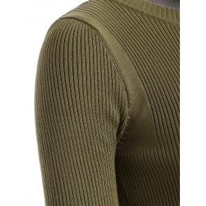 Ribbed Knit Crew Neck Cropped Knitwear - OLIVE GREEN ONE SIZE