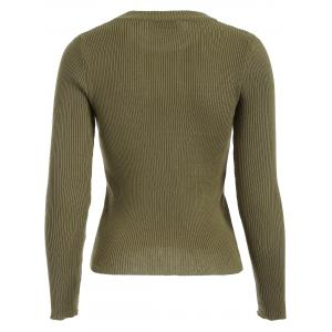 Ribbed Knit Crew Neck Cropped Knitwear -