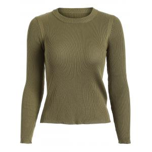 Ribbed Knit Crew Neck Cropped Knitwear - Olive Green - One Size