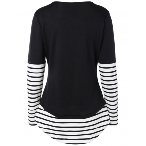 Striped Panel Contrast Tee - BLACK XL
