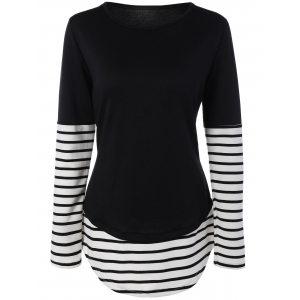 Striped Panel Contrast Tee
