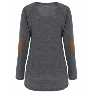 Raglan Sleeve Elbow Patch Buttoned Tee - GRAY XL