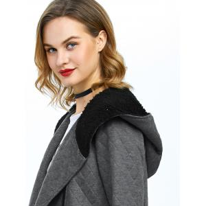 Inclined Zip Hooded Quilted Coat -