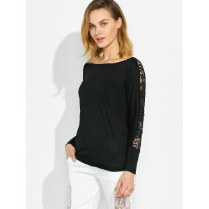 Long Sleeve T-Shirt with Lace Trim -