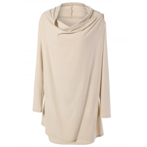 Cowl Neck Overlap Loose Cream Long Sleeve Tee