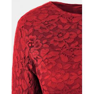 Fit and Flare Lace Long Sleeve Dress - WINE RED 3XL
