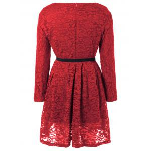 Fit and Flare Lace Long Sleeve Dress - WINE RED S