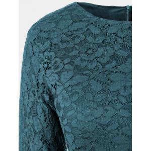 Fit and Flare Lace Long Sleeve Dress - TURQUOISE L