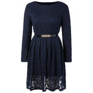 Fit and Flare Lace Long Sleeve Dress - Purplish Blue - S