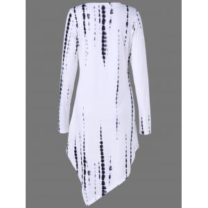 Tie Dye Asymmetrical T-Shirt Dress with Long Sleeve - WHITE M