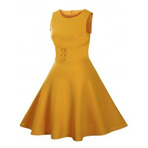 Buttoned Sleeveless Knee Length Swing Vintage Dress -
