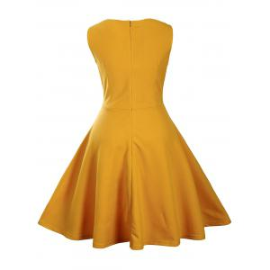 Buttoned Sleeveless Knee Length Vintage Dress - YELLOW 2XL