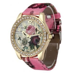 Montre strass de quartz rose à bracelet en cuir artificiel -