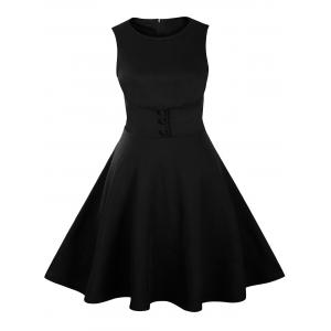 Buttoned Sleeveless Knee Length Vintage Dress