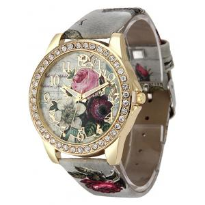 Rhinestone Faux Leather Rose Quartz Watch - GRAY