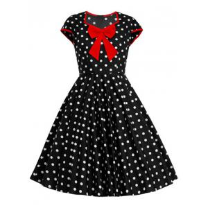 Bowknot Polka Dot Pattern Full Dress