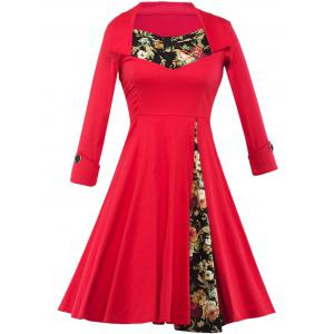 Floral Long Sleeve Tea Length Swing Dress - Red - M