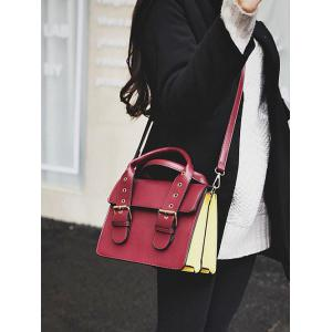 Double Buckles Color Block Eyelets Crossbody Bag -