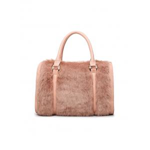 Faux Fur PU Leather Metal Tote Bag -