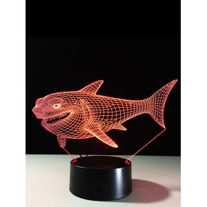 3D Visual 7 Color Change LED Shark Touch Switch Night Light - Colorful - S