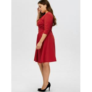 Plus Size Vintage V Neck Button Design Dress -