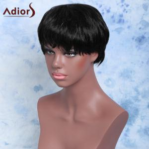 Short Straight Full Bang Handsome Capless Synthetic Wig -
